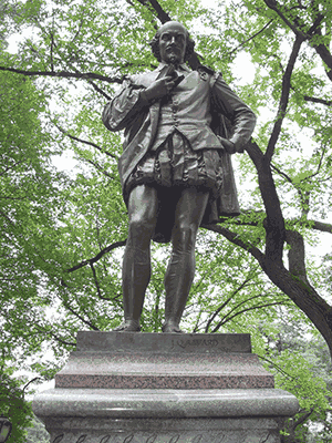 The William Shakespeare statue in New York City's Central Park.
