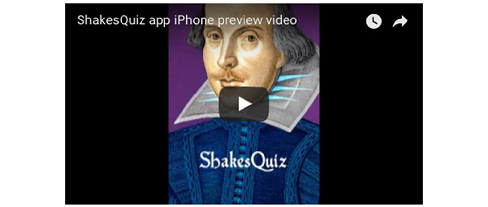 ShakesQuiz app iPhone preview video on YouTube